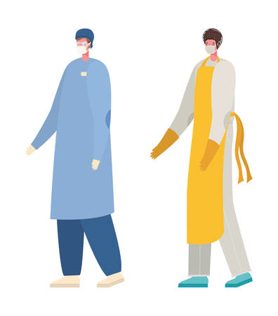 Male doctor and cook with masks design, Workers occupation and job theme Vector illustration Ilustración de vector
