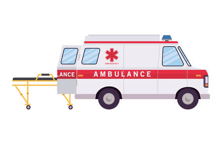 Ambulance paramedic car side view and stretcher design, Life guard emergency and rescue theme Vector illustration