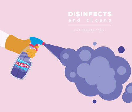 Spray clean bottle and smoke design, Disinfects clean antibacterial and hygiene theme Vector illustration