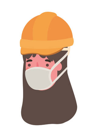 Female constructor with mask design, Workers occupation and job theme Vector illustration Ilustración de vector