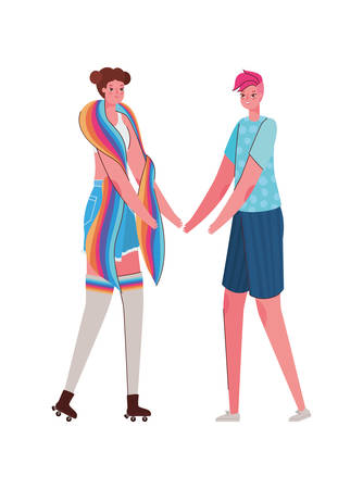 Women cartoons with costumes and lgtbi flag design, Pride day love orientation and identity theme Vector illustration