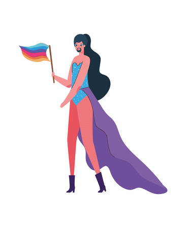 Man cartoon with costume and flag design, Pride day love orientation and identity theme Vector illustration