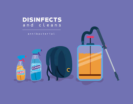 Spray clean bottles and bag design, Disinfects clean antibacterial and hygiene theme Vector illustration Ilustración de vector