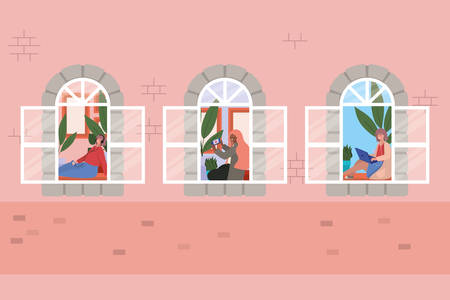 Women with smartphone at window of pink building design, Architecture and quarantine theme Vector illustration