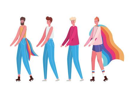 Women and man cartoons with costumes and lgtbi flags design, Pride day love orientation and identity theme Vector illustration