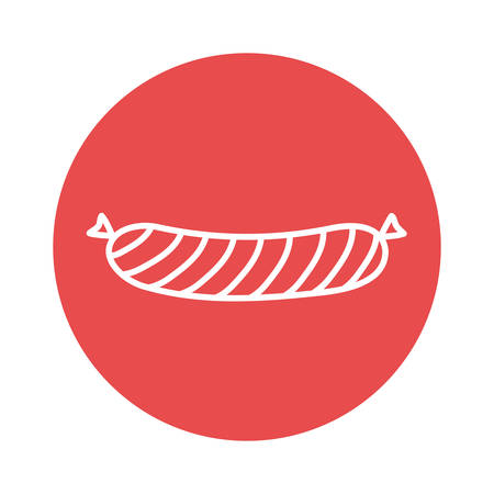 sausage block style icon design, food eat restaurant and menu theme Vector illustration