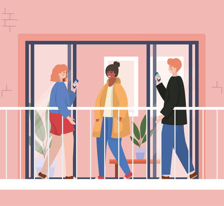 People with smartphone at window balcony of pink building design, Architecture and quarantine theme Vector illustration