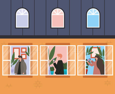 People with smartphone at windows of orange building design, Architecture and quarantine theme Vector illustration