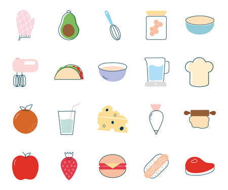 food flat style icon set design, eat restaurant and menu theme Vector illustration Ilustração