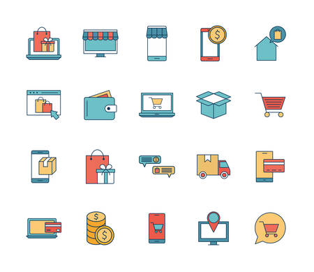 line and fill style icon set design of Shopping online commerce and market theme Vector illustration Ilustracja