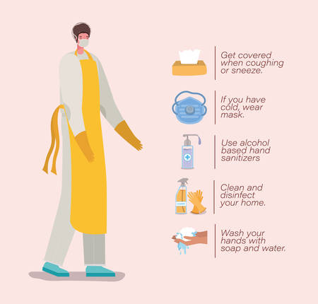 cook man with mask apron gloves and prevention tips design of Coronavirus 2019 nCov workers theme Vector illustration