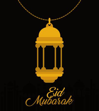 Eid mubarak gold lantern design, Islamic religion and culture theme Vector illustration