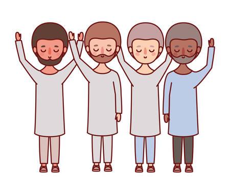 Men avatars cartoons with beard design, Man boy male person and people theme Vector illustration Illustration