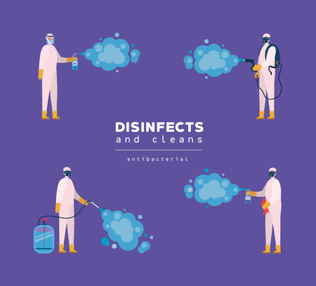 Men spraying with protective suits gloves and bottles design, Disinfects clean antibacterial and hygiene theme Vector illustration