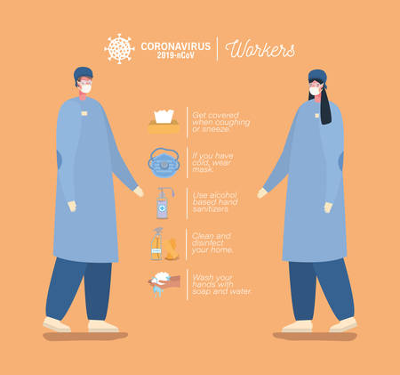 male and female doctors with masks and prevention tips design of Coronavirus 2019 nCov workers theme Vector illustration Vettoriali