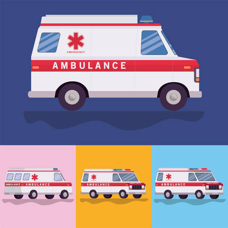 Ambulances paramedic cars side view design, Life guard emergency and rescue theme Vector illustration