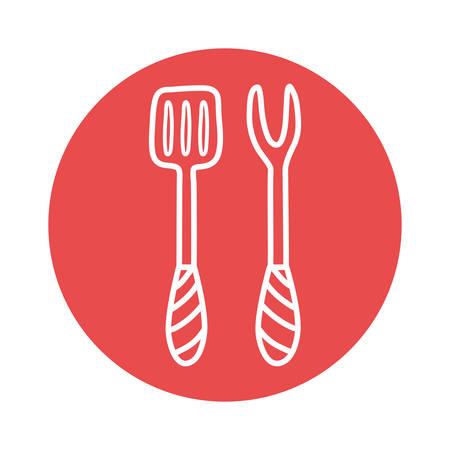 fork and spatula block style icon design, Cook kitchen eat and food theme Vector illustration Ilustração