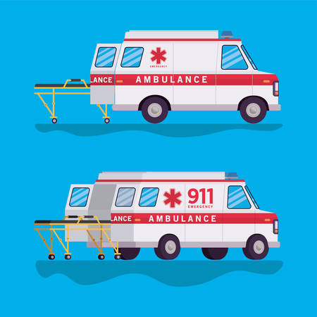 Ambulances and stretchers design, Life guard emergency and rescue theme Vector illustration Vectores