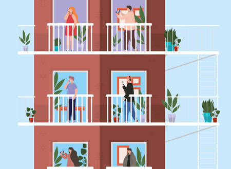 People with smartphone at windows balconies of brown building design, Architecture and quarantine theme Vector illustration
