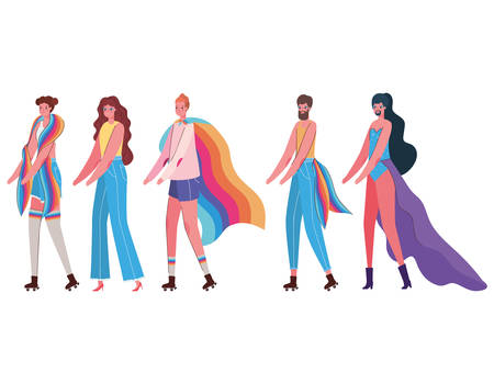 Women and men cartoons with costumes and lgtbi flags design, Pride day love orientation and identity theme Vector illustration