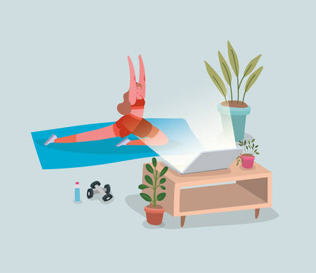 Woman doing yoga on mat in front of laptop design of Stay at home theme Vector illustration