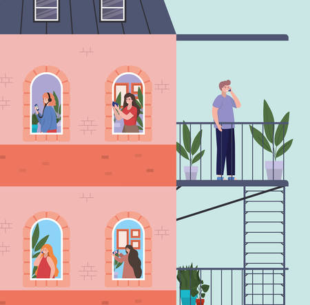 People with smartphone at windows of pink building with escape stairs design, Architecture and quarantine theme Vector illustration