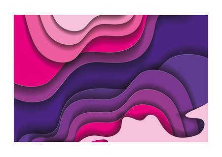 Purple and pink waves background inside frame, Abstract texture art and wallpaper theme Vector illustration