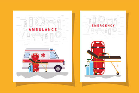 Ambulance paramedic car side view oxygen cylinders and stretcher design, Life guard emergency and rescue theme Vector illustration