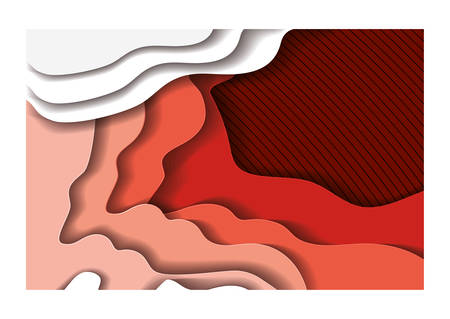 Red waves background inside frame, Abstract texture art and wallpaper theme Vector illustration