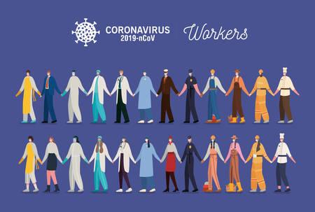 men and women with uniforms and masks design of Coronavirus 2019 nCov workers theme Vector illustration Vektorgrafik