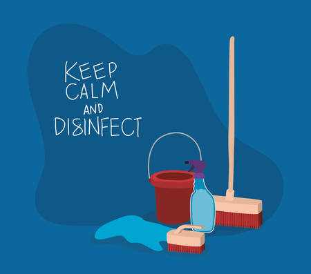 Bucket spray rag and brush design, Keep calm and desinfect theme Vector illustration