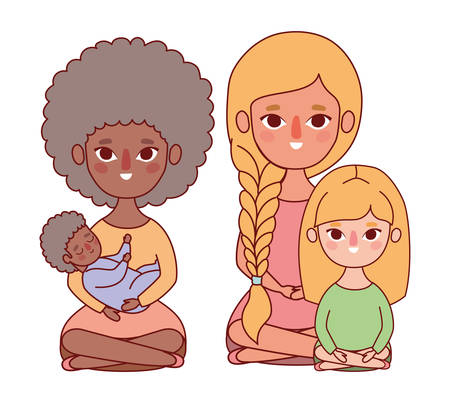 Mothers with baby and daughter design, Family relationship and generation theme Vector illustration Vecteurs