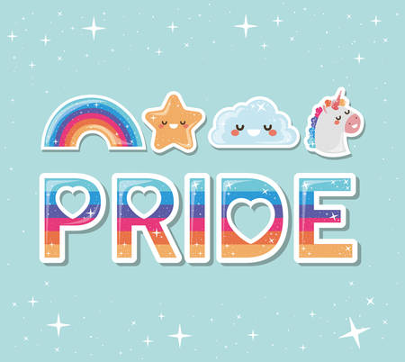 lgtbi rainbow star cloud and unicorn design, Pride day love orientation and identity theme Vector illustration