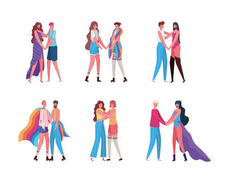Women and men cartoons with costumes and lgtbi flags design, Pride day love sexual orientation and identity theme Vector illustration Vettoriali