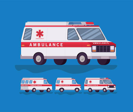 Ambulance and paramedic car side view set design, Life guard emergency and rescue theme Vector illustration