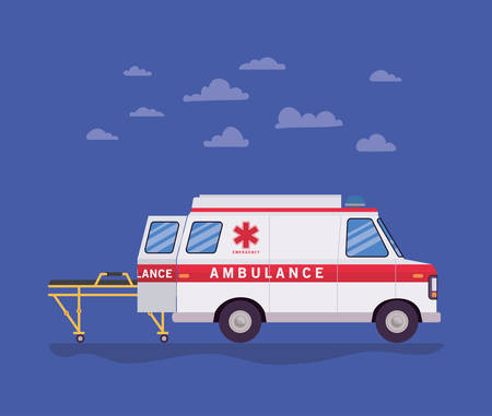 Ambulance paramedic car side view stretcher and clouds design, Life guard emergency and rescue theme Vector illustration  イラスト・ベクター素材