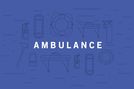 Ambulance word in front of icon set design, Life guard emergency and rescue theme Vector illustration