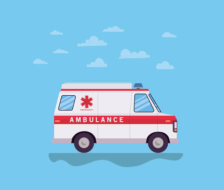 Ambulance paramedic car side view and clouds design, Life guard emergency and rescue theme Vector illustration 写真素材 - 148821773