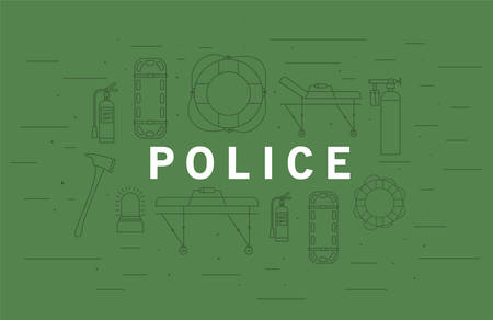 Police word in front of icon set design, Life guard emergency and rescue theme Vector illustration