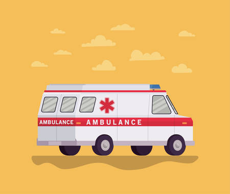Ambulance paramedic car side view and clouds design, Life guard emergency and rescue theme Vector illustration