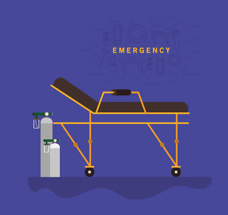 Stretcher and oxygen cylinders design, Life guard emergency and rescue theme Vector illustration 写真素材 - 148821797
