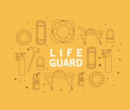 Lifeguard word in front of icon set design, Life guard emergency and rescue theme Vector illustration 写真素材 - 148823703