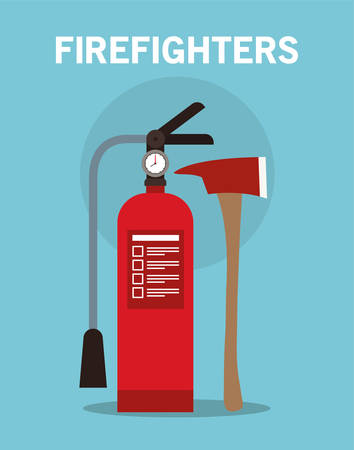 extinguisher and axe design, Firefighters and emergency theme Vector illustration 写真素材 - 148829044