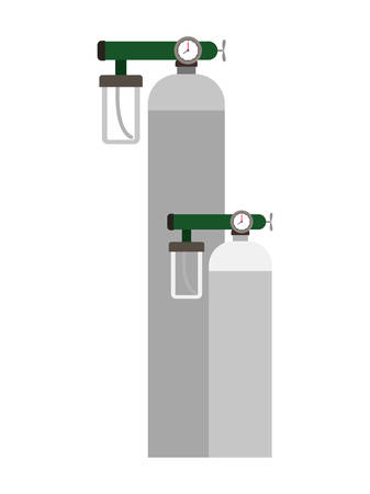 Oxygen cylinders design, Emergency rescue save department 911 danger help safety and aid theme Vector illustration 写真素材 - 148838098