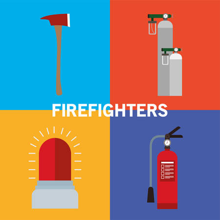 siren extinguisher oxygen cylinders and axe design, Firefighters and emergency theme Vector illustration  イラスト・ベクター素材