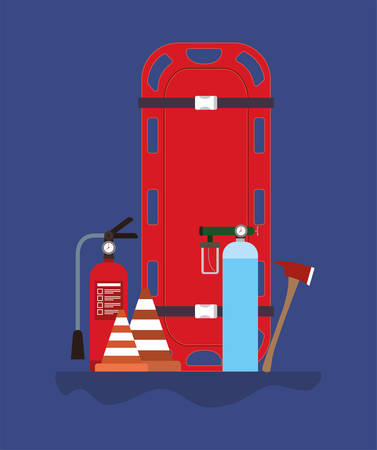 Stretcher extinguisher cones oxygen cylinders and axe design, Firefighters and emergency theme Vector illustration 写真素材 - 148882708