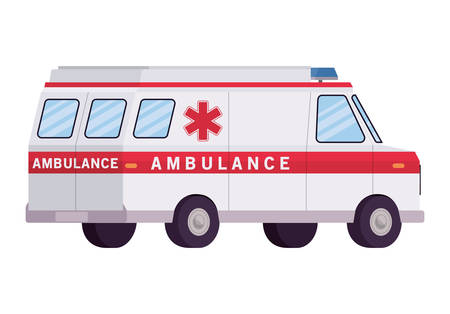 Ambulance paramedic car side view design, Life guard emergency and rescue theme Vector illustration