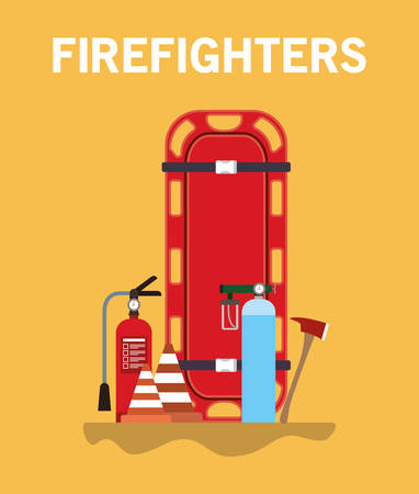 Stretcher extinguisher cones oxygen cylinders and axe design, Firefighters and emergency theme Vector illustration 写真素材 - 148889755