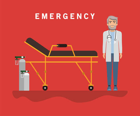 Doctor with stretcher and oxygen cylinders design, Emergency rescue save department danger help safety and aid theme Vector illustration 写真素材 - 148892607
