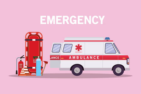 Ambulance stretcher extinguisher cones axe and oxygen cylinders design, Life guard and emergency theme Vector illustration